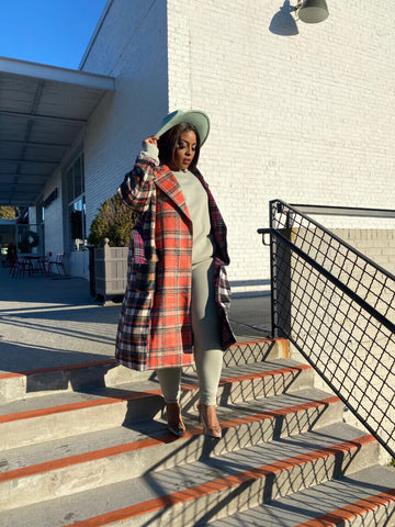 In the Mix | Mixed Plaid Trench Coat