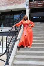 Load image into Gallery viewer, Let it Flow | Deep Orange Button up Maxi Dress