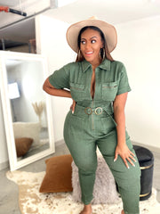 Making Moves | Olive Stretch Denim Jumpsuit
