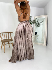 Heat Wave | Tye Dye Maxi Skirt Set- Mocha