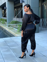 Load image into Gallery viewer, Silky Situation | Black Jogger Set