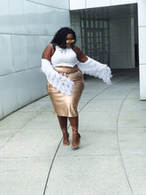 Load image into Gallery viewer, Rozay Allday | Rosegold vegan leather cargo skirt
