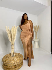 Sparkle | Nude Ruched Dress