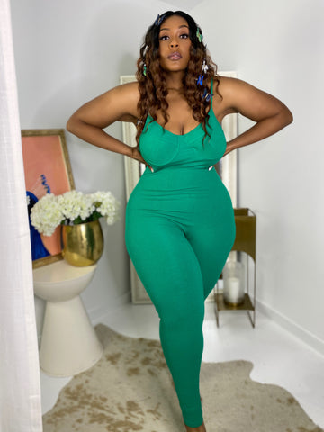 Skin Deep | Green Ribbed Knit Jumpsuit