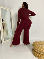 Been Fine| Burgundy Wide leg Set