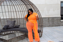 Load image into Gallery viewer, More Summer | Neon Orange Flare Mesh Pants
