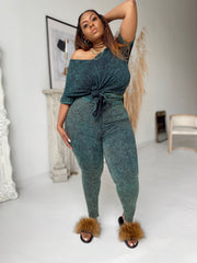 Cozy and Cute | Tropical Green Acid wash set