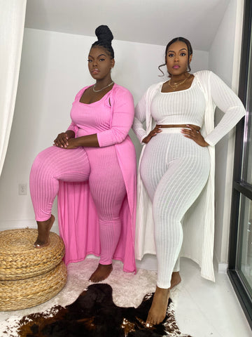 Pretty on the Go | Pink Ribbed 3pc Set