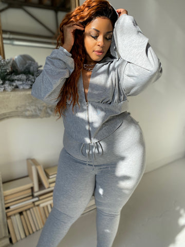 Lets Get Waisted | Heather Grey 2pc Jogger Set