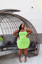Load image into Gallery viewer, Day Drink | Neon Green Ruched Mesh Dress