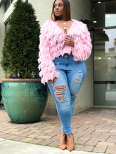 Load image into Gallery viewer, So Shag | Pink Knit Fringe Cardi