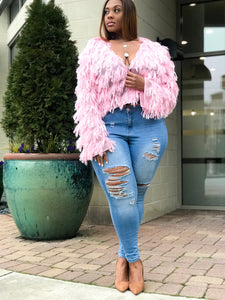 So Shag | Pink Knit Fringe Cardi