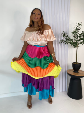 Island Hopping | Multi Color Pleated Dress