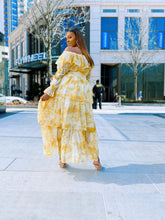 Load image into Gallery viewer, Spring Fling | Mustard & Cream Tiered Chiffon Dress