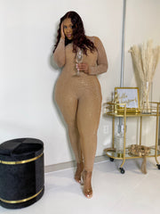 All the Glitz | Diamonte Nude Bodysuit W/ Detachable Jumpsuit