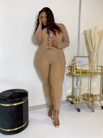 All the Glitz | Diamonte Nude Bodysuit W/ Detachable Jumpsuit Restock Ships