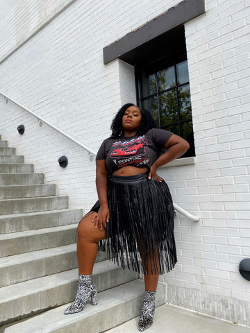 Fringe City | Vegan Leather Fringe Skirt