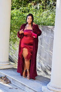 Be Mine | Maroon Stretch Satin Dress