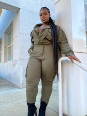 Hunt me Down  | Olive Stretch Denim Jumpsuit