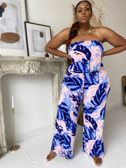 Jungle Fever | Blush Palm Print Jumpsuit