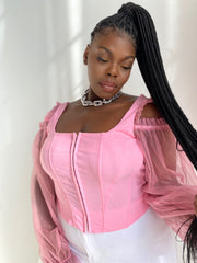 Soft Thoughts | Pink Mesh long Sleeve Corset Top