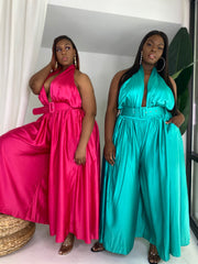 Major Moment | Wide Leg Satin Jumpsuit Jade