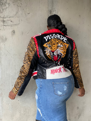 Minor Flex  | Tiger Vegan Leather Studded Jacket