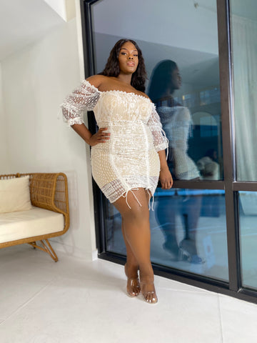 Get Entangled | White and Nude Lace Dress