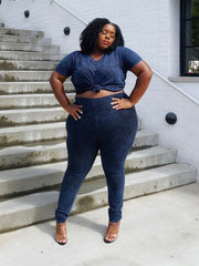 Keepin it Cute | Navy Blue Acid wash set