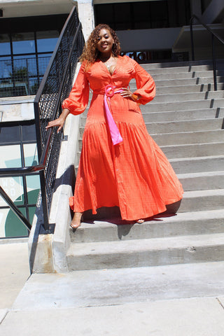 Let it Flow | Deep Orange Button up Maxi Dress