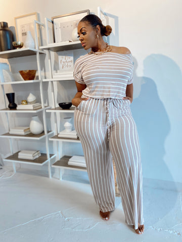 Stripe me Down | Mocha & White Striped Jumpsuit