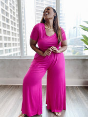 Chill Pill| Fuschia Wide leg Jumpsuit