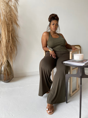 Been Fine| Olive Wide leg Set