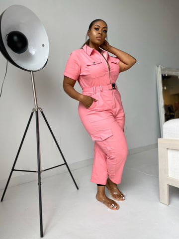 Perfect Weekend | Pink Stretch Denim Jumpsuit