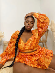 Pretty Petals | Orange Ruffle 2 pc Set- Restock Ships 3/3