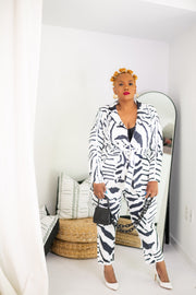 CEO of Chic | Zebra 2 pc Belted Suit
