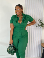 Out of Pocket | Green Stretch Denim Jumpsuit