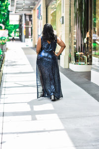 Midnight Ménage | Navy Sequin Dress