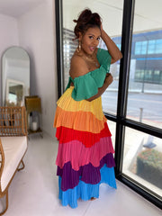 Island Girl  | Multi Color Pleated Set