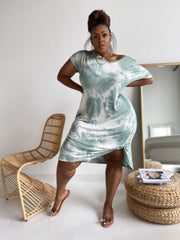 Knot with it |Soft Sage Tie Dye Dress