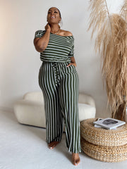 Stripe me Down | Green & White Striped Jumpsuit