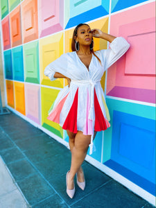Color Pop | Multi Colored White Dress