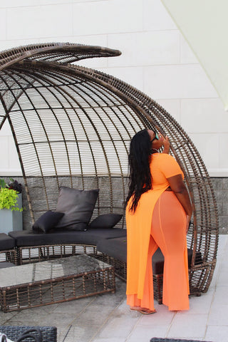 More Summer | Neon Orange Flare Mesh Pants