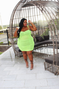 Day Drink | Neon Green Ruched Mesh Dress