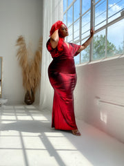 Dripped in Glam | Ruby Red Metallic Maxi Dress