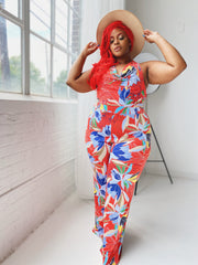 Tropical Tease | Red Leaf Print Jumpsuit