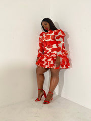 Floral Moment | Red Rose Ruffle Dress