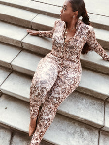 Rattle Me Baby | Vegan Leather Snakeskin Jumpsuit