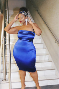Blue Belle | Blue stretch satin dress with sequin  headband