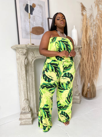 Jungle Fever | Lime Palm Print Jumpsuit